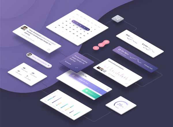 优雅的紫色系UI Kit打包下载[Sketch]