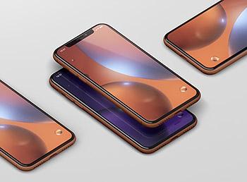 逼真质感的高品质时尚高端iPhone XR UI样机展示模型mockups