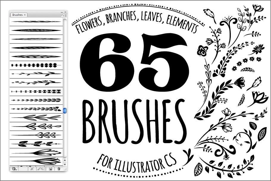 65手工花卉笔刷 65 DIY Floral brushes + 10 logos设计素材模板