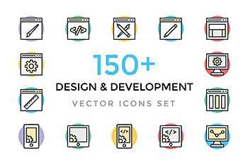 150+设计和开发图标 150+ Design and Development Icons