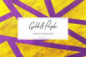 手绘金色&紫色背景图案设计素材