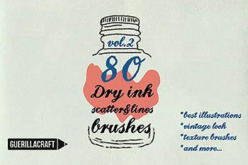 干的墨水笔刷效果 Dry ink brushes VOL.2 scatter&lines