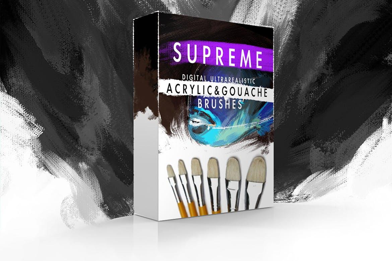 超现实质感的丙烯酸和手绘水彩水粉画笔photoshop笔刷设计素材模板