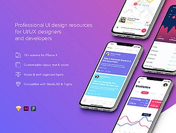 APP UI KIT套装漂亮的资讯社交阅读内容 iOS Ui 移动ui app设计