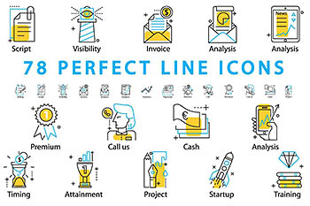 78 PERFECT LINE ICONS [ai,png,svg] 78个完美的线形图标下载
