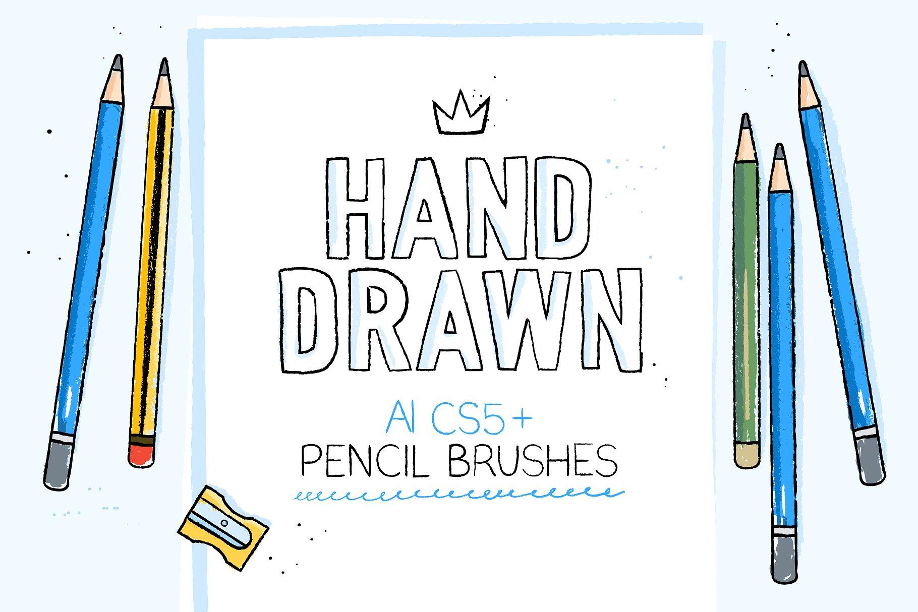 Ai手绘笔刷 Hand-drawn pencil AI brushes设计素材模板