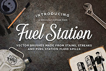 加油站 矢量笔刷元素 Fuel Station | Vector Grime Brushes
