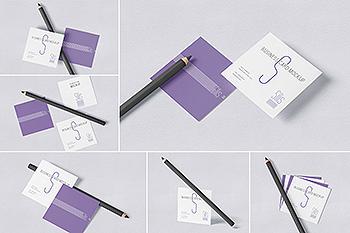 方形名片叠放阴影效果样机模板 Square Shaped Business Card Mockups