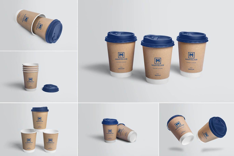 逼真的高品质时尚高端房地产纸杯咖啡杯包装设计VI样机展示模型mockups