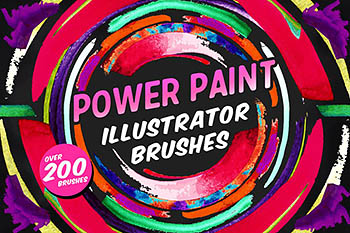 有力量感觉的 illustrator 手绘笔刷 Power Paint Illustrator Brushes