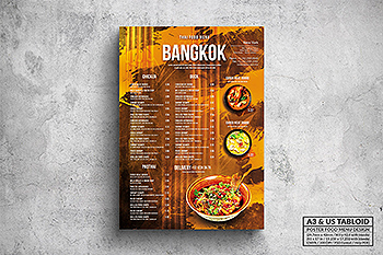 泰国菜餐厅菜单海报设计模板 Bangkok Thai Food Menu – A3 & US Tabloid Poster