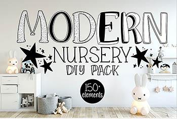 免费-现代高端矢量男孩儿童房间装饰插画素材包[EPS]
