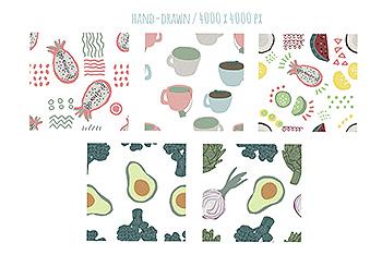 手绘食物图案食品包装图案矢量背景素材 Hand-drawn naive simple food patterns