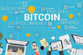 区块链比特币加密货币主题矢量背景图素材 Bitcoin market