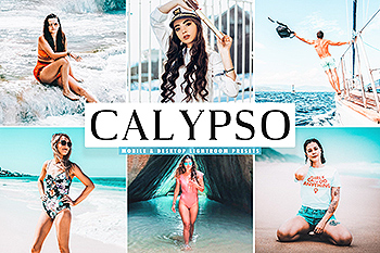 透亮蓝色&绿松石色照片调色滤镜Lightroom预设 Calypso Mobile & Desktop Lightroom Presets