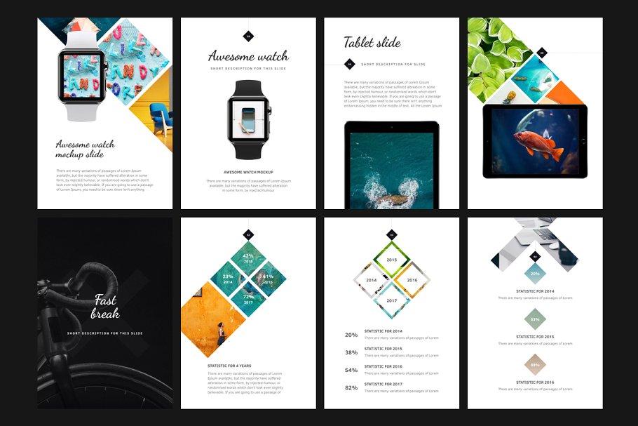 竖版PPT主题模板 A4   Tera Keynote Template设计素材模板