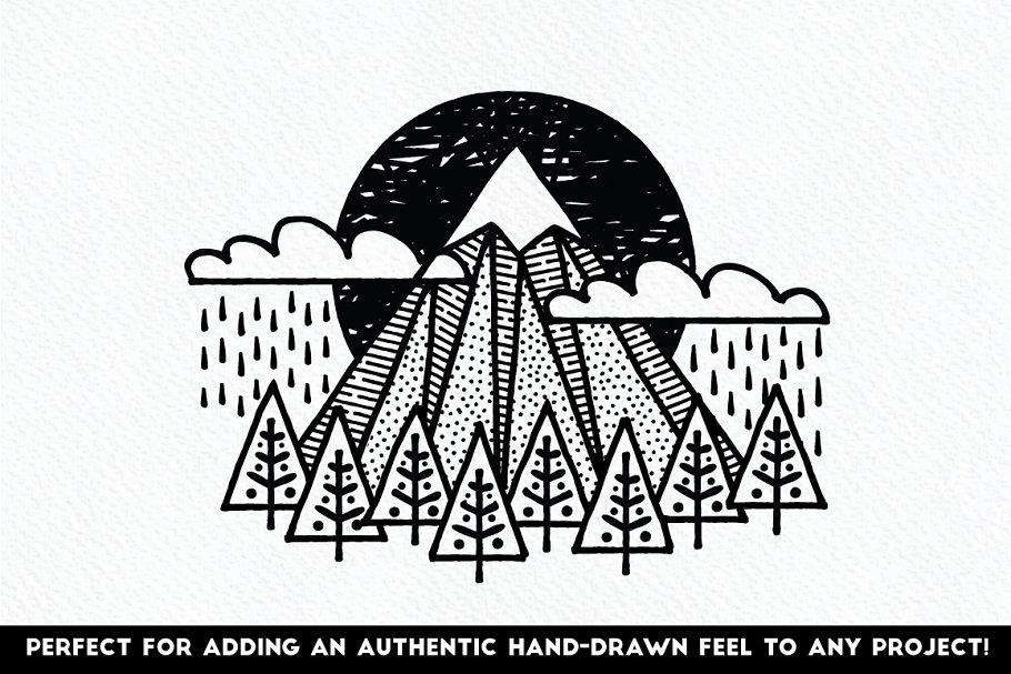 好的线条笔刷图案 Fine Liner Brushes & Patterns设计素材模板