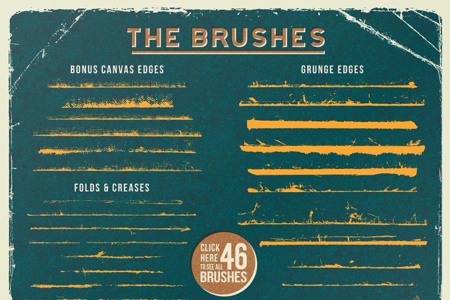 经典折痕的画笔素材 Vintage Vector Edge Brushes设计素材模板