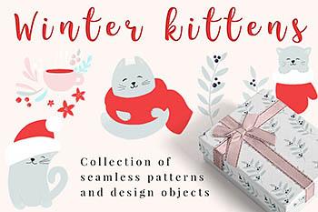 免费的,常用冬季圣诞主题卡通背景纹理素材包