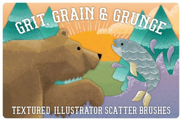 笔刷 | AI复古砂砾散布纹理熊鱼动物设计素材模板