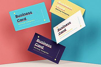 企业名片悬浮效果图样机模板 Business Card Mock-Up Template