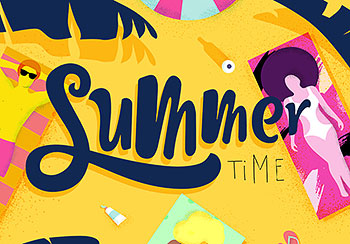 夏季游泳时尚海报背景手绘装饰插画卡通人物矢量图案PSD设计素材 AI0009