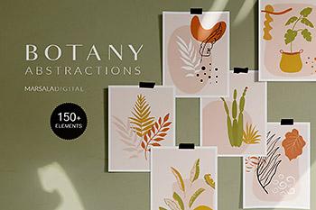 插画 | 绿色小清新高级灰43种矢量抽象植物104种插图图形预制组合合集包