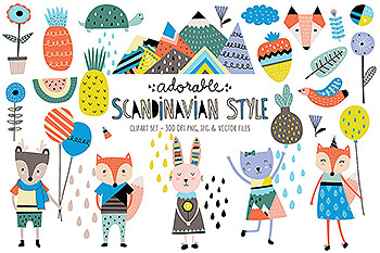 可爱的卡通动物插画 Cute Scandinavian Animals & Designs