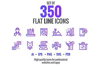 图标 | 350个渐变商业粉紫蓝金融教育购物医疗媒体网络酒店餐厅健身概念矢量元素