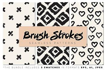 描边效果笔刷的背景纹理素材 Brush Strokes Seamless Patterns
