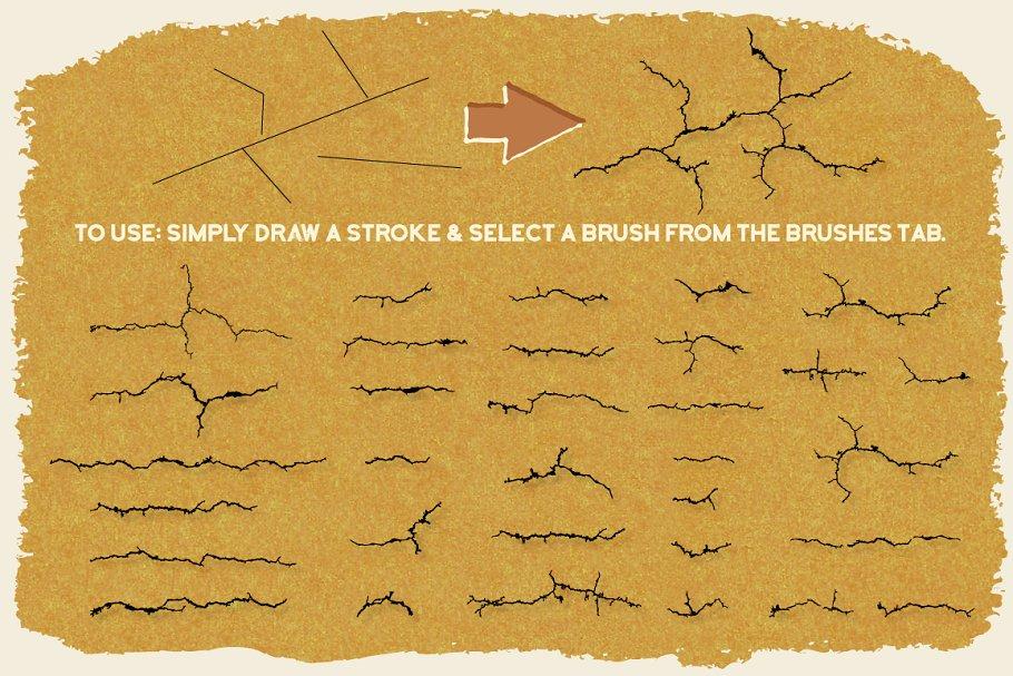矢量裂纹效果笔刷 Vector Crack Brushes设计素材模板