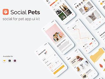 APP UI 宠物社交多功能 KIT 套装下载 iOS Ui ui界面 app设计[Sketch,Fig,XD]