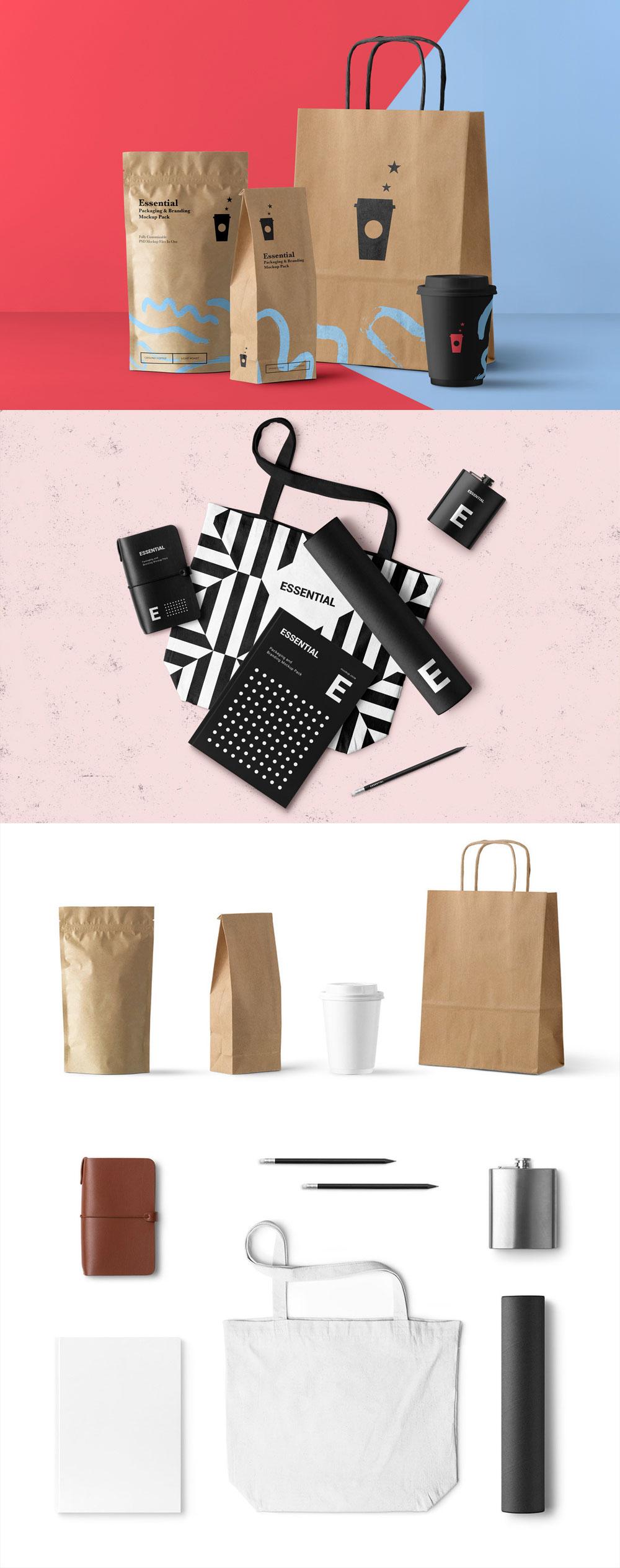 [免费]高端的牛皮纸包装设计展示模型Mockups下载[PSD]设计素材模板