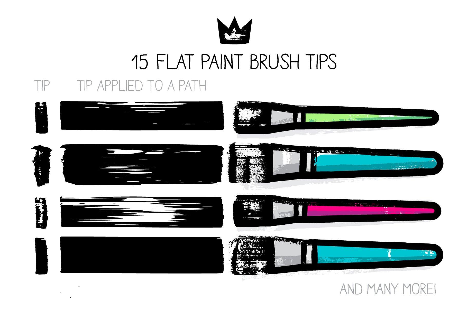 肌理笔刷下载 AI flat paint brushes设计素材模板