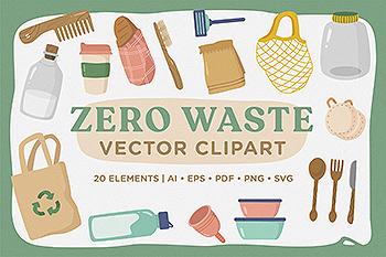 环保餐具环保主义主题矢量剪贴画素材 Zero Waste Vector CLipart Pack