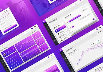 简洁酷炫后台仪表盘模板UI设计素材应用程序网站网页个人中心PSD U0111