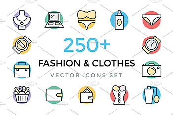 250+时尚和服装图标 250+ Fashion and Clothes Icons