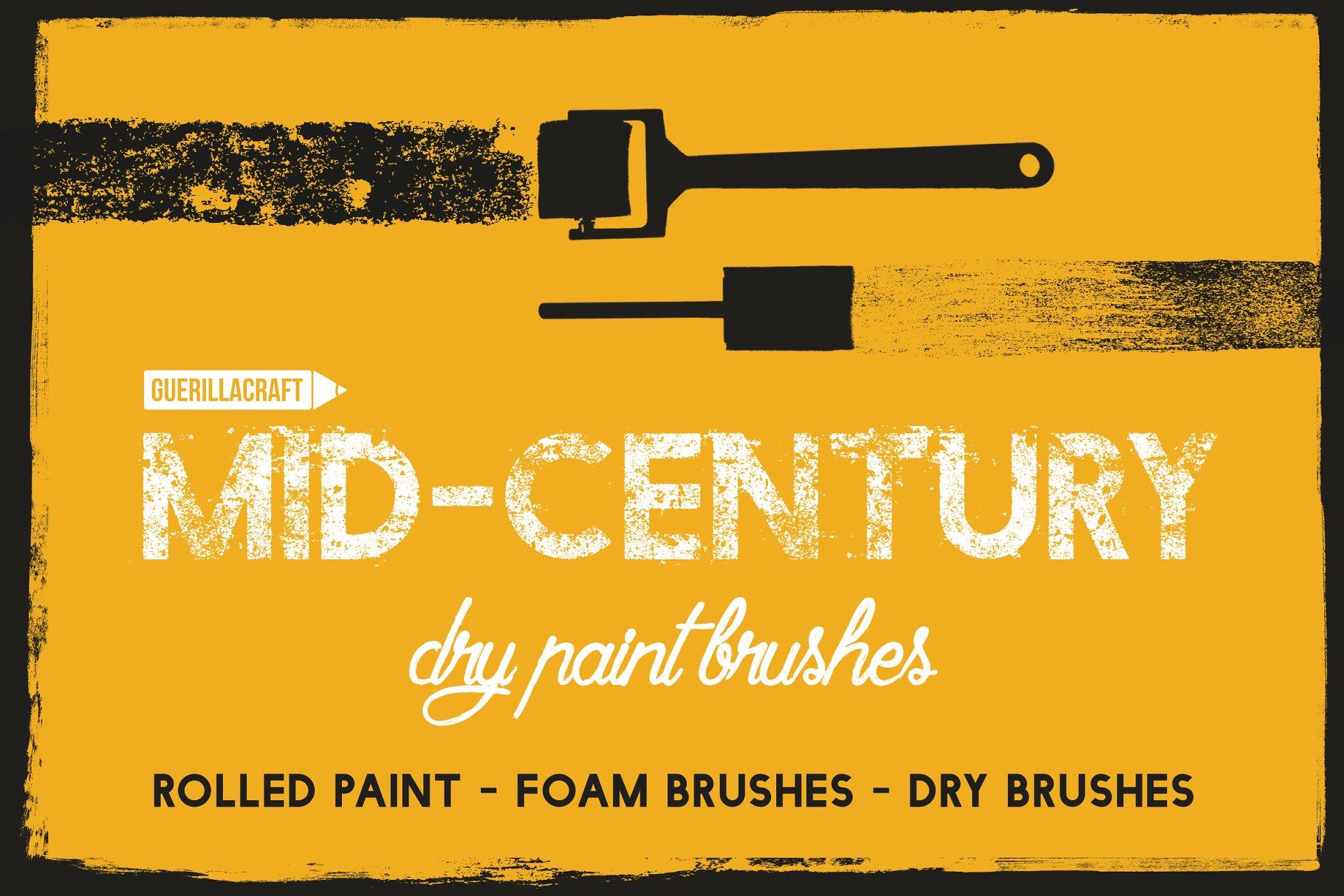 中世纪PS笔刷下载 Mid-Century – Dry Paint Brushes设计素材模板