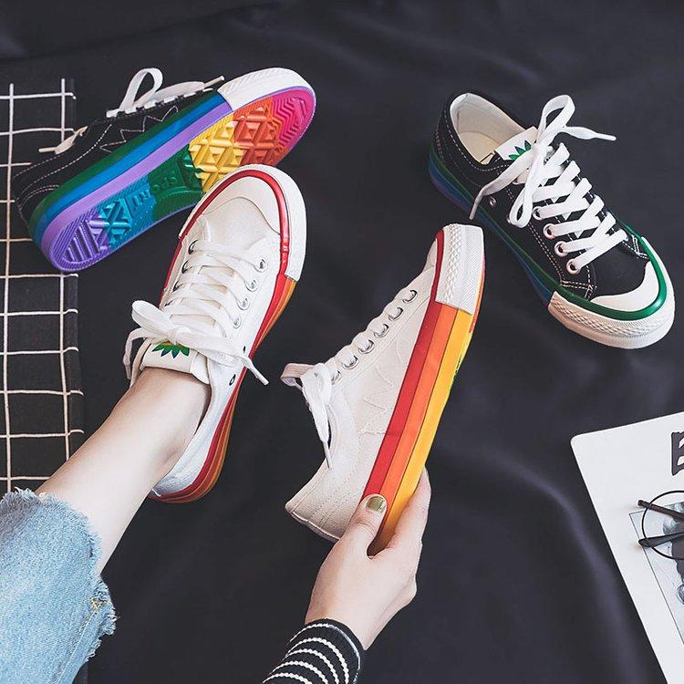 帆布鞋女2019新款韩版彩虹鞋原宿风洋气学生韩版ulzzang松糕板鞋