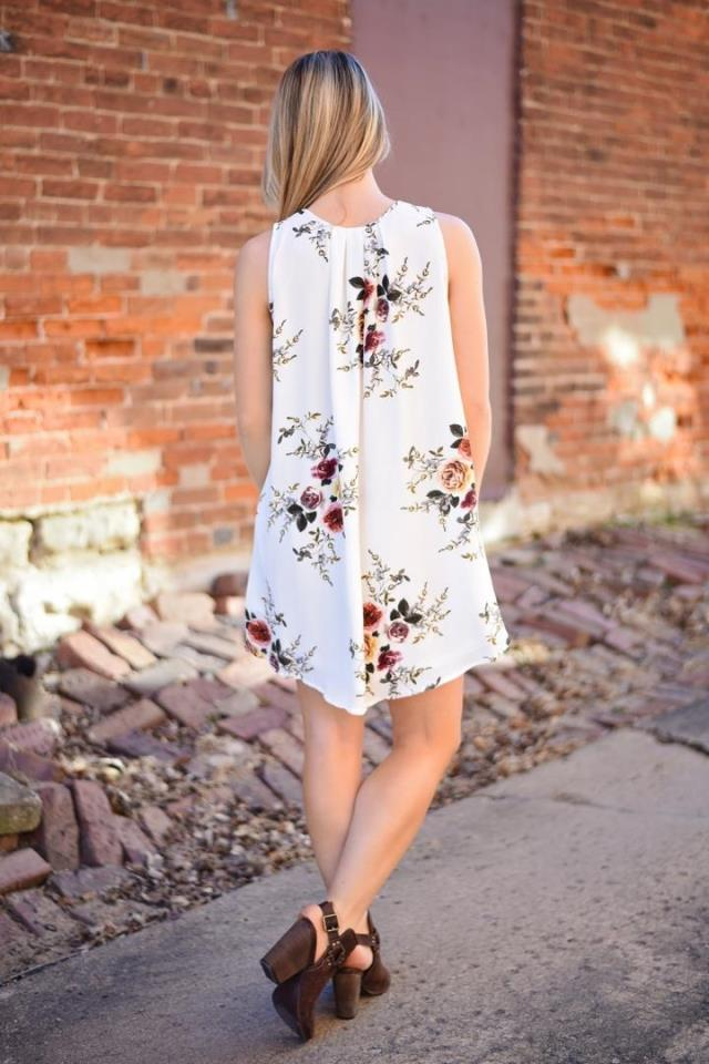 Occident and the United States Polyester printing dress (White-xL)NHYF1135