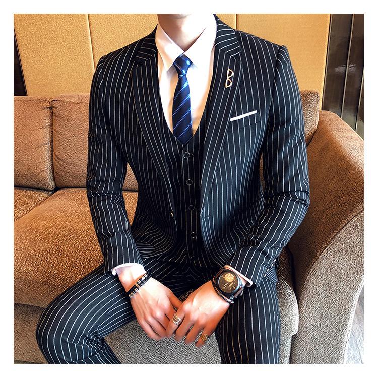 春装新郎结婚礼服竖条纹韩版修身男西装套装休闲发型师套装三件套