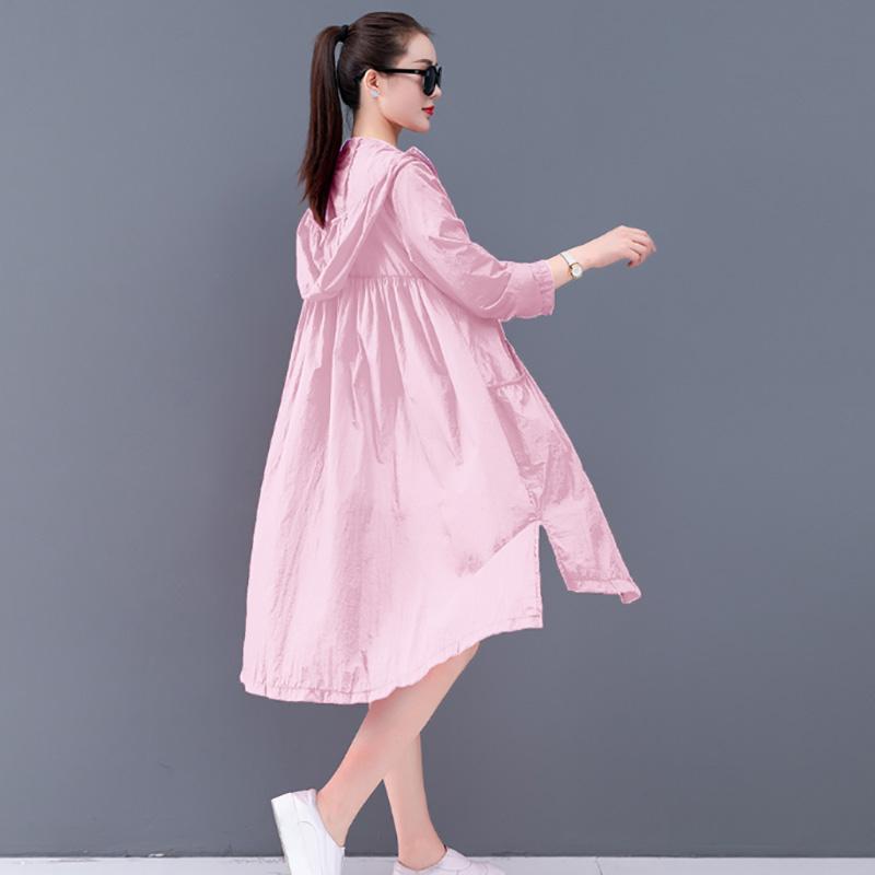 防晒衣女中长款长袖2020新款韩版夏季开衫过膝海边度假防晒服外套