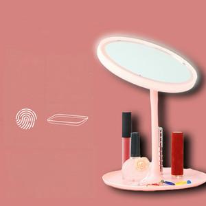 镜子台式简约ins 桌面韩式led灯化妆镜收纳一体网红镜子家用卧室