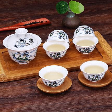 复古青花陶瓷盖碗套装茶杯三才碗家用泡茶碗手抓壶功夫茶具景德镇,免费领取3.00元淘宝优惠卷