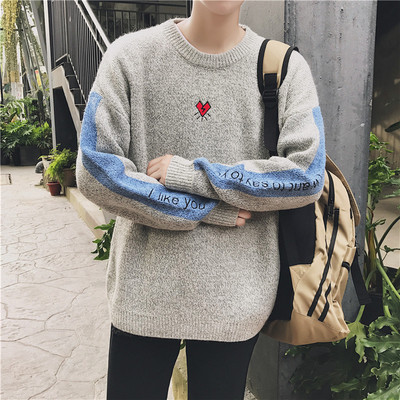 @ Hong Kong literary men's winter national wind sweater Korean tide men's knit sweater round neck students retro sweater