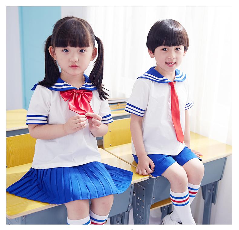 Trường tiểu học đồng phục phù hợp với mùa hè mẫu giáo quần áo ngắn tay trẻ em lớp dịch vụ tốt nghiệp ảnh quần áo tùy chỉnh 2018 new