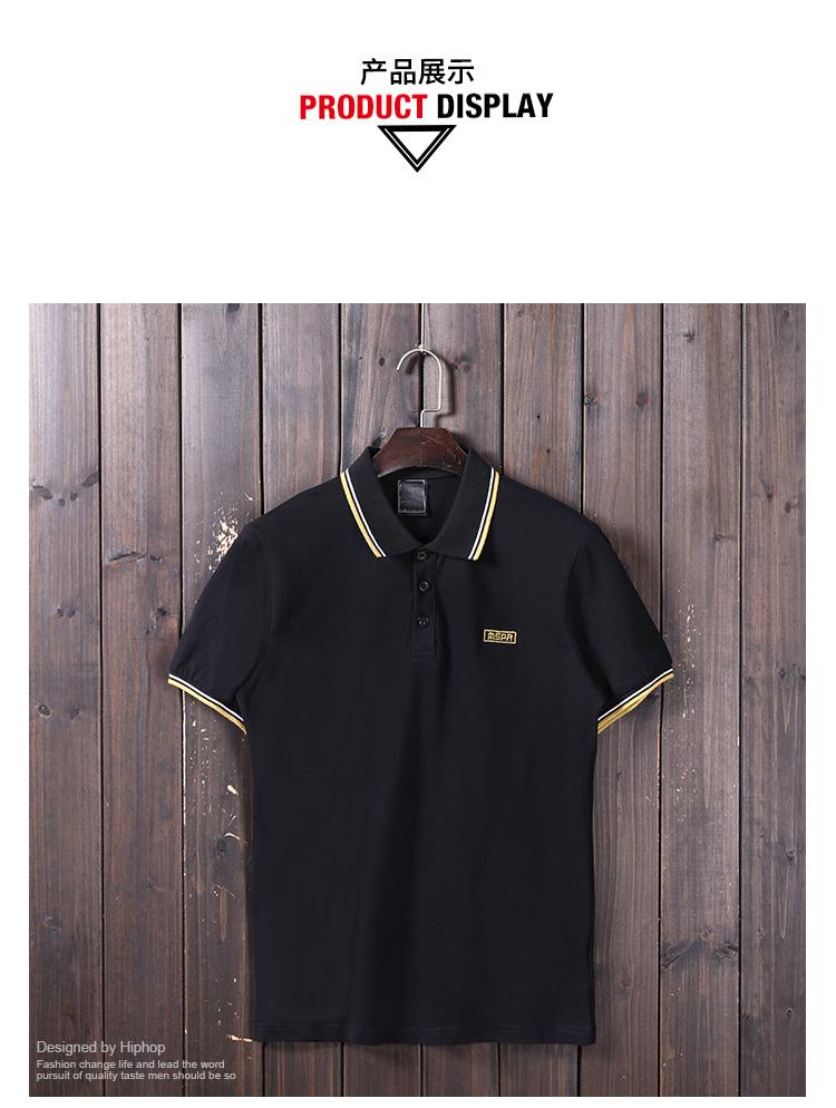 Thủy triều ban đầu thương hiệu xu hướng của nam giới màu rắn POLO áo sơ mi Mỹ giản dị triều nam nửa tay áo T-Shirt đồng phục bóng chày ngắn tay áo tee