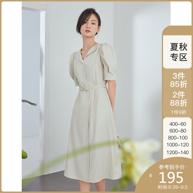 范思蓝恩211131正式场合法式职业连衣裙女夏新款气质收腰面试裙子