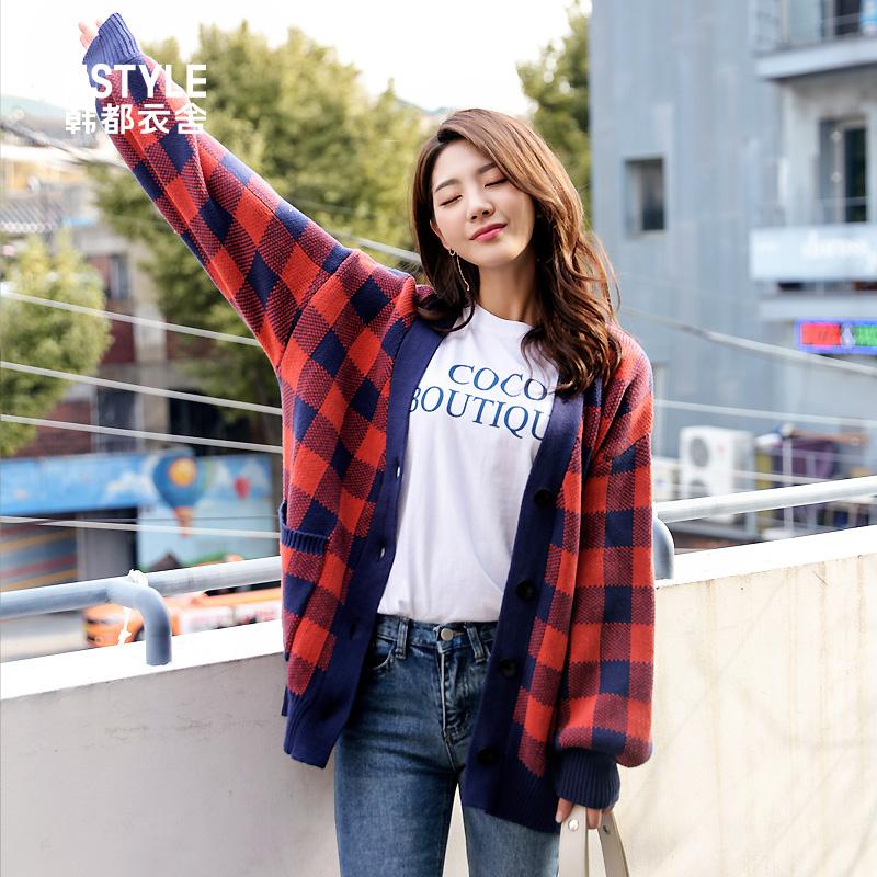 韩都衣舍2019春装新款韩版红色外搭开衫毛衣外套针织衫女GS9331