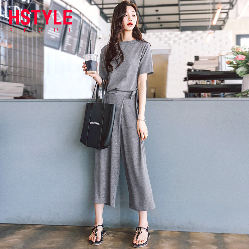 ed63a822324eb Handu clothing 2019 Korean women's summer dress new two-piece fashion heart  machine fashion set LU7523荃